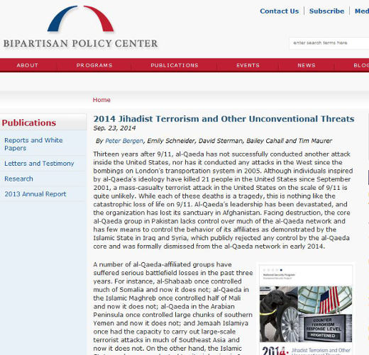 Bipartisan Policy Center recently published its 2014 report on terrorism and other unconventional attack risks