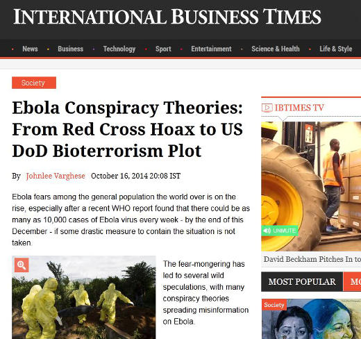Ebola conspiracy theories and rumours abound, including those of bioterrorism
