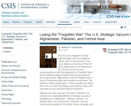 "CSIS - Losing the ""Forgotten War"" The U.S. Strategic Vacuum in Afghanistan, Pakistan, and Central Asia"