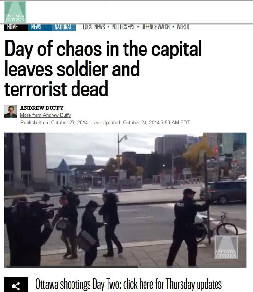 Terror attack on a war memorial and the Canadian Parliament