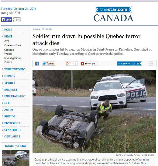 Overturned car of radicalized Quebecer Martin Rouleau (Ahmad LeConverti)