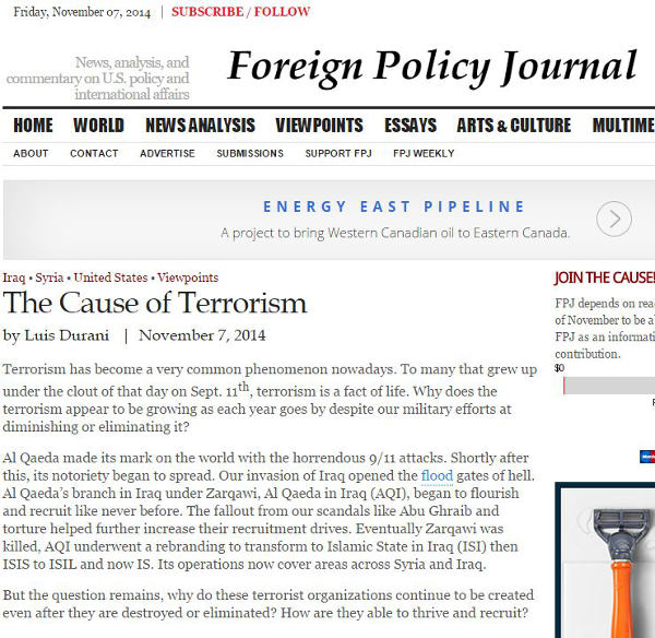 Oil and Gas industry veteran Luis Durani writes about his views on the cause of terrorism in Foreign Policy Journal