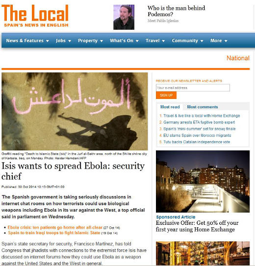 Could ISIS/ISIL terrorists spread Ebola to the United States?