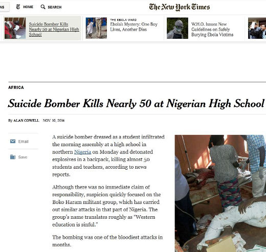 A suicide bomber killed 50 kids and teachers in a Nigerian high school
