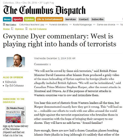 The Columbus Dispatch publishes Gwynne Dyer's commentary on terrorism