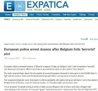 Belgian police and special forces conducted raids against Islamic terrorists