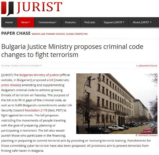 Bulgarian government proposes changes to laws to better deal with the threats of terrorism