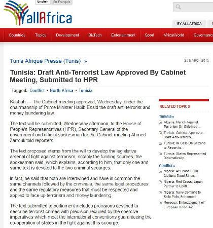 Tunisian cabinet has approved a draft anti-terrorism bill
