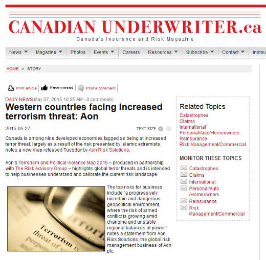 Increased terrorism risk in Canada